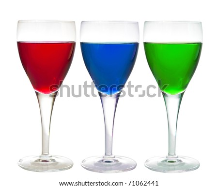 Three glasses with liqueur, cherry, laraha citrus and apple, isolated