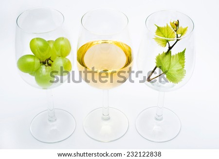 three glasses with white wine, vine grapes and green vine leaf