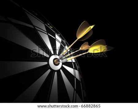 three gold darts hitting the center of a black and white dartboard. low key image.