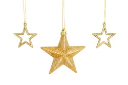 Three gold glitter Christmas star decorations isolated against white