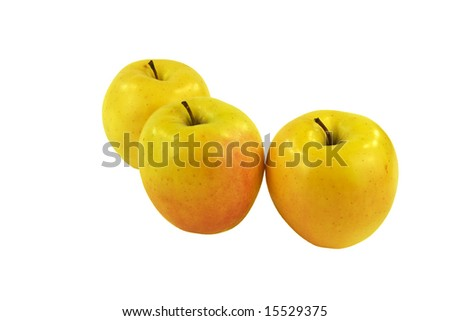 Three Golden Apples On White Background