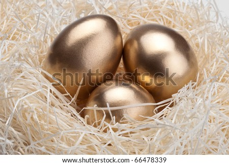 Three golden eggs in the bird's nest