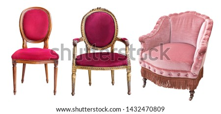 Three gorgeous vintage armchairs isolated on white background. Chairs with red and rose upholstery #1432470809