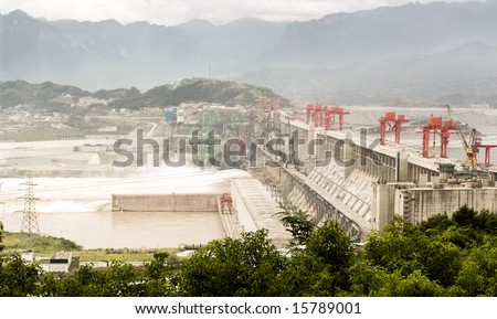 Three Gorges Dam in China, on the Yangtze River.  Aerial View.