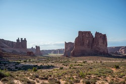 Three Gossips and The Organ rock formations in Arches National Park