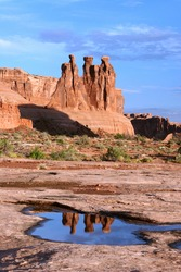 Three Gossips Reflections Arches National Park