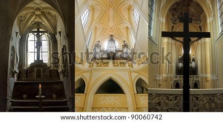 Three gothic church interiors