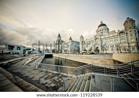 Three Graces at Dusk, Liverpool