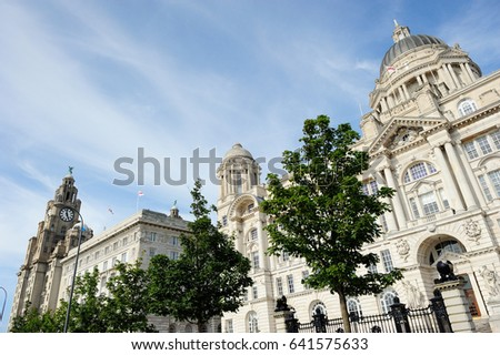 Three Graces, buildings on Liverpool's waterfront, England, United Kingdom #641575633