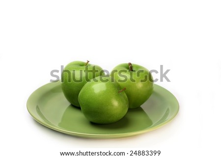 Three Granny Smith Green Apples on a plate with white background