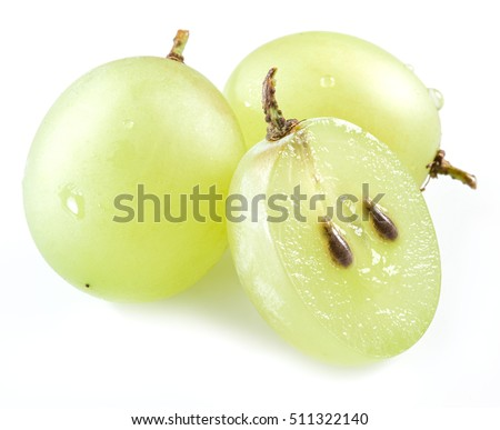 Three grapes on the white background.