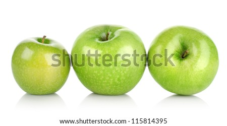 Three green apples isolated on a white background