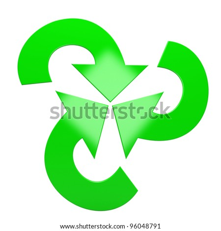 Three green arrows isolated on white background