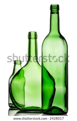 three green bottles for recycling
