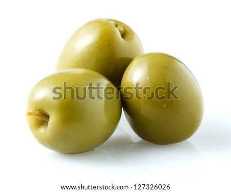 three green olives isolated on white