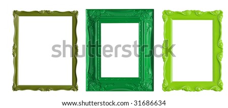Three green picture frames.