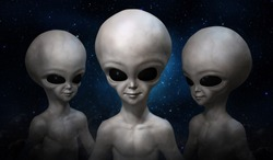 Three grey aliens on the background of cosmic sky. 3D illustration.