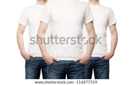 three guy in T-shirt on a white background