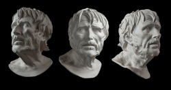 Three gypsum copy of ancient statue head of Lucius Seneca isolated on black background. Plaster sculpture aged man face.