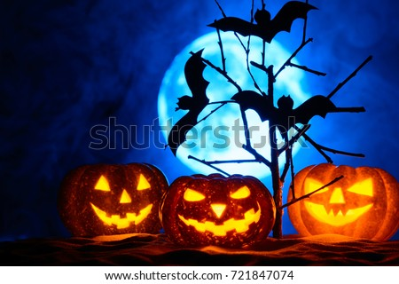 Three Halloween pumpkins and bats on a tree, the full moon in the fog #721847074