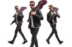three handsome rockstars wearing leather jackets and sunglasses and having guitar on shoulder walking on white background