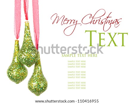 Three hanging Christmas or holiday ornaments, isolated on white