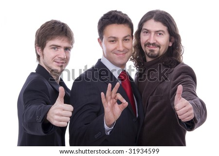 three happy business men together as a team tumb up
