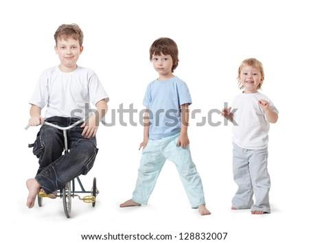 three happy child on white