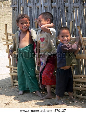 Three Happy Kids. Golden-Triangle Hilltribe. Asia.