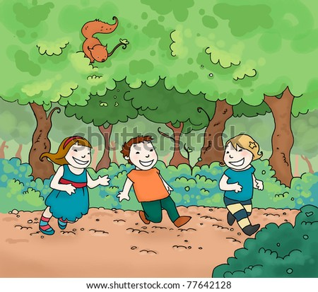 Three happy kids running in the park. Digital colors