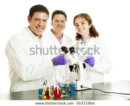 Three happy scientists in their laboratory.  Isolated on white.