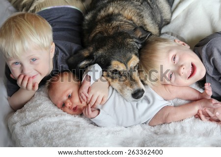 Three happy young children, including a newborn baby girl, a toddler, and their big brother are laying in bed snuggling with their pet German Shepherd Mix dog.
