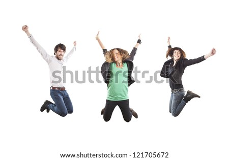 three happy young people jumping