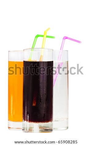 Three highball glasses of soda with drinking straws on a white background