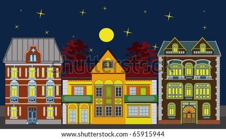 Three historical buildings in a row; very elaborate and highly detailed. Its night time. Great for PR purposes.