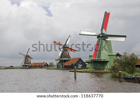 Three historical windmills at Zaandam near Amsterdam, Holland