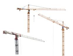 three hoisting cranes isolated on white background