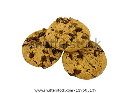 Three home baked chocolate chip cookies isolated with clipping path