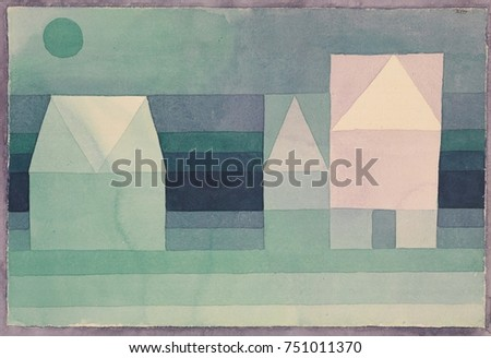 THREE HOUSES, by Paul Klee, 1922, Swiss drawing, watercolor on paper. Simple, childlike symbolic forms are colored with soft tones of green and blue and enlivened by violet
