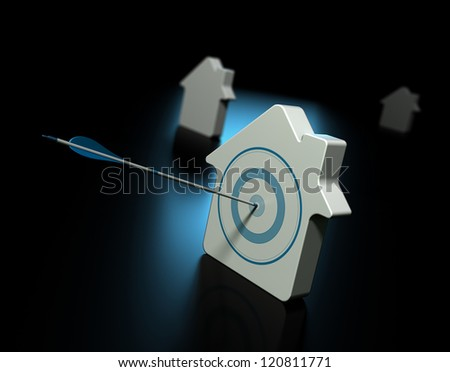 Three houses over black with blue reflection, the first house is pierced by an arrow in the center of the target, the other properties at the background are blurry, real estate and property search