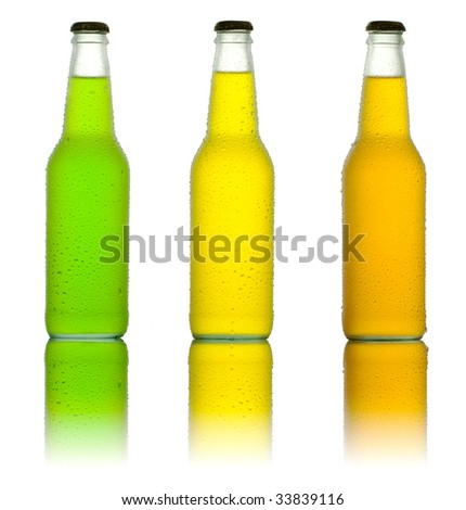 Three ice cold drinks on reflective table