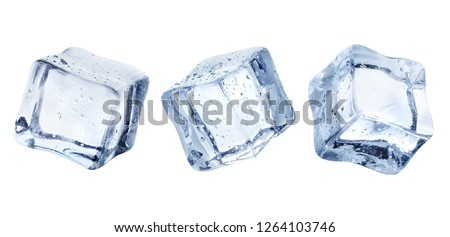 Three ice cubes, isolated on white background