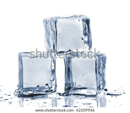 Three ice cubes on glass table. Isolated on white