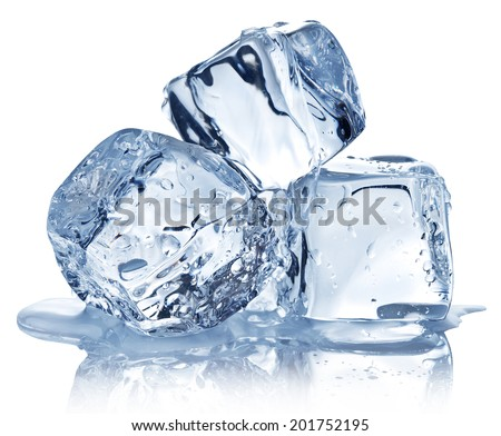 Three ice cubes on white background. Clipping pats. #201752195