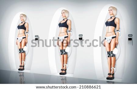 Stock Photo Three identical Female cyborg suit sexy maid. Robotic servants charging