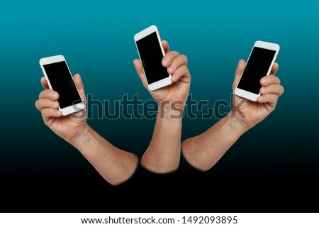 three identical male muscular hands holding a smartphone, technology concept, horizontal, close-up, copy space