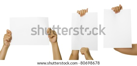 Three images of woman hands holding blank paper. You can put your text on the paper