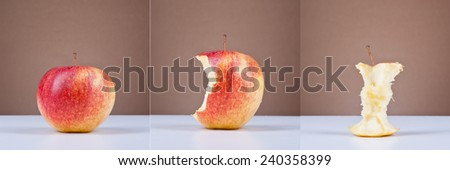 Three images presenting a process of eating apple, concept, triptych