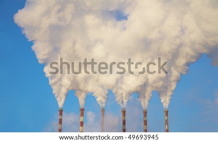 Three Industry chimney with clear smoke