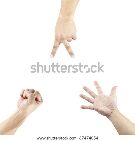 Three isolated cutout of hand playing the stone, paper and scissor game.
